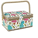 KOVOT Sewing Basket Organizer Set | Includes Folding Carry Handle, Insert Tray & Misc Sewing Accessories | Measures 10 3/4