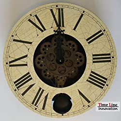 Timeline 16 Inch Wood Moving Gear Wall Wheel Clock with Pendulum /Classical Color Large Size
