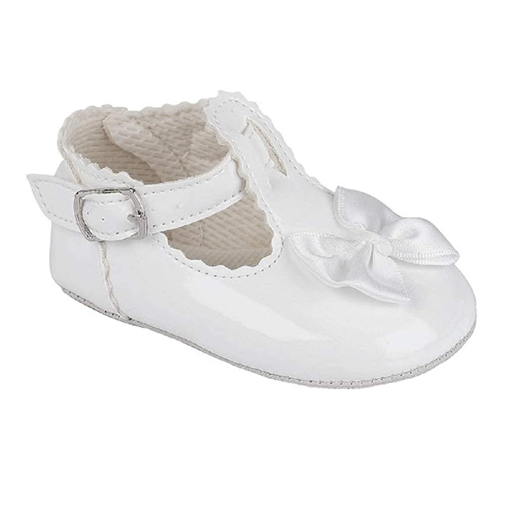 baby babies BOYS SOFT SHOE silver buckle white patent wedding christening