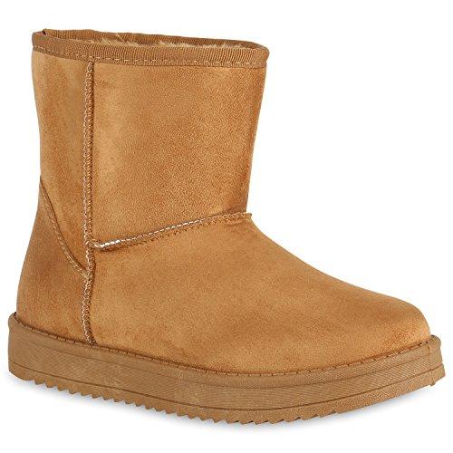 Damen Stiefeletten Stiefel Kunstfell Schlupfstiefel Boots Flandell Hellbraun Brooklyn