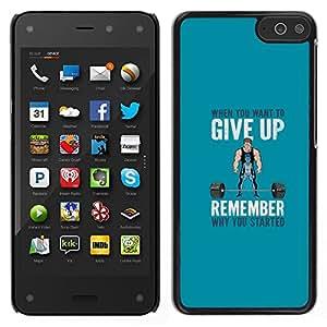 A-type Arte & diseño plástico duro Fundas Cover Cubre Hard Case Cover para Amazon Fire Phone (Pesos de elevación motivación)