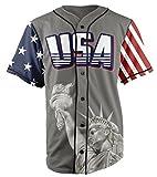 Greater-Half-Custom-Baseball-Jersey-Button-Down-USA-Grey-Trump-45-Small-4XL