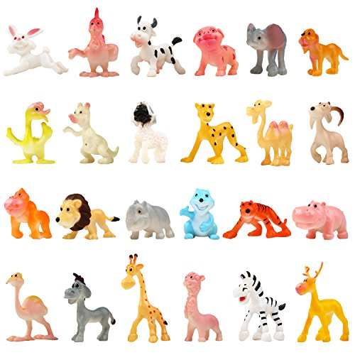 Funcorn Toys Cartoon Animal, 24 Pack Mini Plastic Wild Animals Models Toys Kit, Jungle Animal Figures Set for Children Boys & Girls Kids Party Favors Classrooms Rewards Birthday Gift Educational Toy