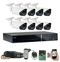 GW Security 8CH HD DVR Security System, QR-Code Connection, 8 Day Night 2400TVL High Resolution Weatherproof 2.8~12mm Varifocal Bullet Cameras CCTV Surveillance System 2TB HDD