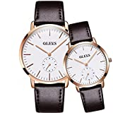 OLVES His & Her 2pcs Ultra Slim 6.5mm Chronograph Cowhide Leather Band Wrist Watches, Set for Valentines Gift