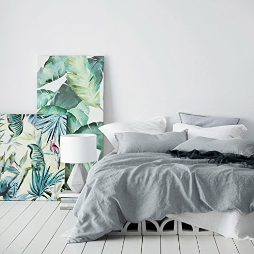 Eikei Washed Cotton Chambray Duvet Cover Solid Color Casual Modern Style Bedding Set Relaxed Soft Feel Natural Wrinkled Look (King, Cloudy Sky)