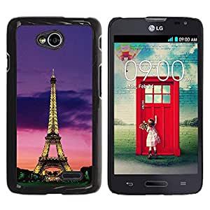 Be Good Phone Accessory // Dura Cáscara cubierta Protectora Caso Carcasa Funda de Protección para LG Optimus L70 / LS620 / D325 / MS323 // Tower Architecture Lights Sky Night Paris