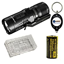 BUNDLE: NiteCore EC11 White and Red LED Flashlight with NiteCore IMR 18350 battery, Case, and LightJunction Keychain Light