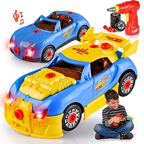 30 Piece Set Construction (Kids' Take Apart Racing Car Toy: 30-Piece Construction Play Set for Boys & Girls| Realistic Lights & Sounds Car Assembly Toy Kit| Build Your Own Car Educational Toy For Kids Aged 3+| Top Gifting Idea)