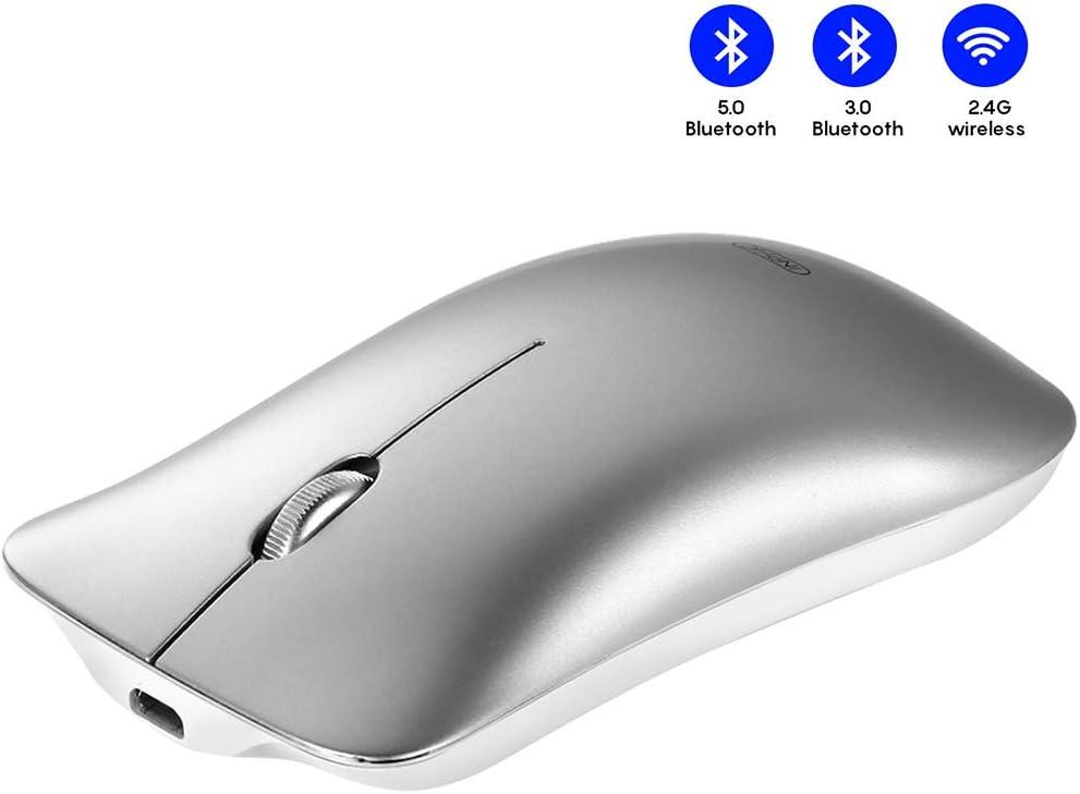 INPHIC Ratón Bluetooth, ratón inalámbrico Bluetooth Recargable silencioso trifásico silencioso (BT 5.0/3.0 + 2.4G inalámbrico), Mouse de Viaje portátil 1600DPI para Mac, MacBook, computadora portátil