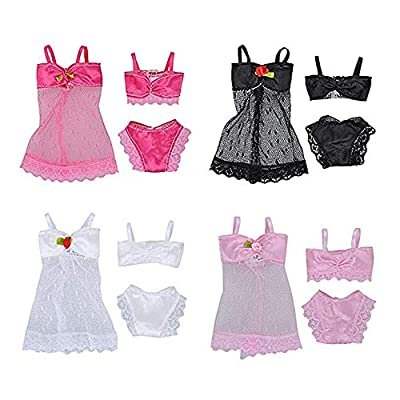 Doll Clothes, Doll Clothes and Accessories 4 Sets Assorted Colors Fashion Girl Doll Toy Summer Beach Bathing Bikini Suits Clothes Accessories for Girls Toys Children Girls Birthday Xmas Gift Kangkangk: Toys & Games