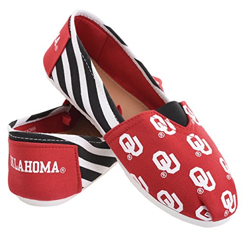 Oklahoma Sooners Collectibles - Forever Collectibles NCAA Oklahoma Sooners Women's Canvas Stripe Shoes, Medium (7-8), Red