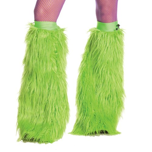 [Party King Women's Neon Furry Boot Covers, Green, One Size] (Furry Rave Boots)