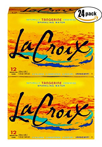 La Croix Naturally Essenced Tangerine Flavored Sparkling Water, 12oz Can (Pack of 2, Total of 24 Oz)