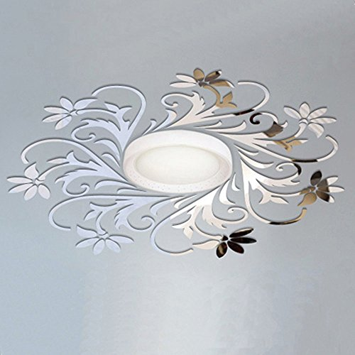 Mural Pattern - European Flower Vine Pattern Ceiling Wall Decoration DIY Acrylic Mirror Effect 3D Wall Stickers Living Room Bedroom Decorative Mural Decals