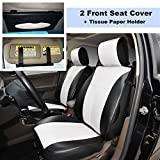 220906S Black/White-2 Front Car Seat Cover Cushions Leather Like Vinyl + Sun Visor Tissue Paper Holder Clip, Compatible to HYUNDAI EQUUS ACCENT AZERA TUCSON FUEL CELL 2018 2017-2007