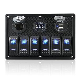 6/8 Gang Rocker Switch Panel - Digital Voltmeter Display, Dual 5V USB Charger Socket, DC 12V Slot, Red/Blue LED Indicator, 12V-24V Circuit Breaker Generally Used Marine Boat Car Vehicles DIY