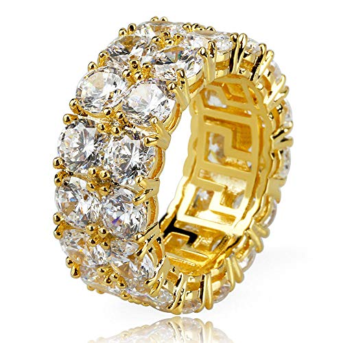 BHTKJ Mens Hip Hop Ring 2 Rows 14K Gold Silver Plated Iced Out CZ Lab Wedding Engagement Bling Ring (Gold, 8) ()