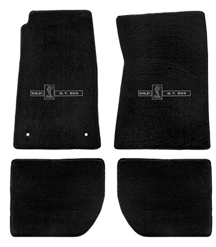 Heavy Plush Carpeted Floor Mats for - Shelby Snake GT500 - for 1965-1970 Shelby Coupes -Black- Fronts & Rears ()