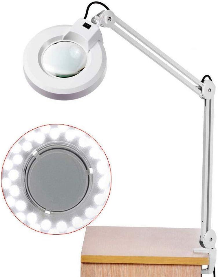 Lámpara de Mesa con Lupa, Lámpara LED de Aumento de 8 Dioptrías, Lámpara de Escritorio de Metal con 36 LED, Lámpara de Aumento de Mesa, Lámpara Lupa de Luz Fría