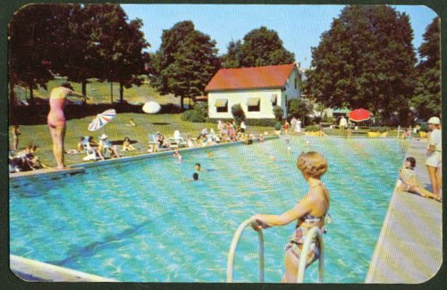 Pococabana Lodge pool Minisink PA postcard 1950s