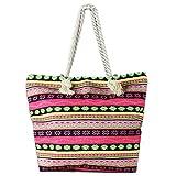 Cheap Lizimandu Beach Bag Canvas Tote Bag With Inner Zipper Pocket – Tote with Rope Handles(Red Bohemia)