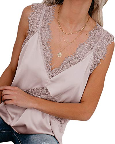 (Valphsio Womens Sexy Silk Tank Top Lace V Neck Loose Sleeveless Blouse Satin Cami Shirt Pink)