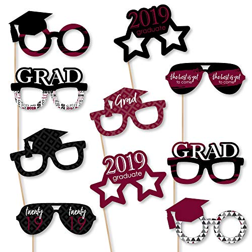Maroon Grad Glasses - Best is Yet to Come - Burgundy 2019 Paper Card Stock Graduation Party Photo Booth Props Kit - 10 Count