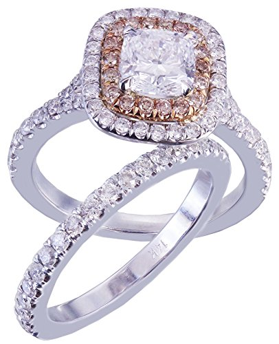 GIA H-VS2 14K White Gold Cushion Cut Diamond Engagement Ring And Band 1.90ct