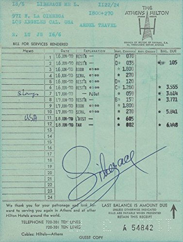 Liberace signed hotel receipt for the Athens Hilton 1970 at ...