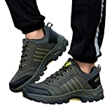 Sherostore ♡ Men's Hiking Shoes Breathable Leather Hiking Boot Walking Shoes for Outdoor Trekking Casual Work Running Shoe Army Green