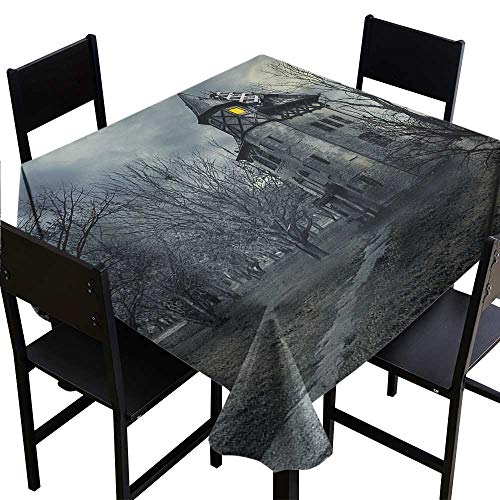 Loruoaine Medallion Tablecloth Halloween,Halloween Design with Gothic Haunted House Dark Sky and Leafless Trees Spooky Theme,Teal 54