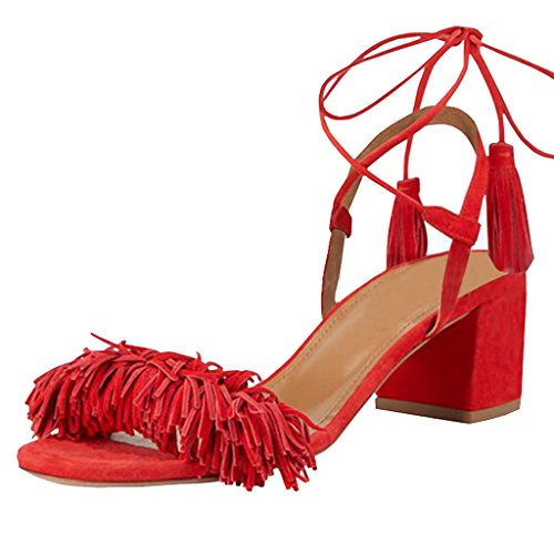 Lovirs Womens Red Open Toe Ankle Ties Chunky Heel Fringed Suede Sandals Dress Causal Shoes 10 M US