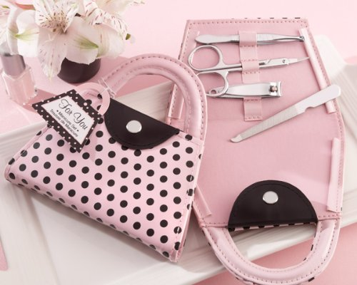 Pink Polka Purse Manicure Set (Set of 6) by Kate Aspen