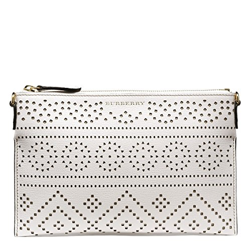 BURBERRY Peyton Woman's White Perforated Lace Leather Cross Body Messenger - Burberry Lace