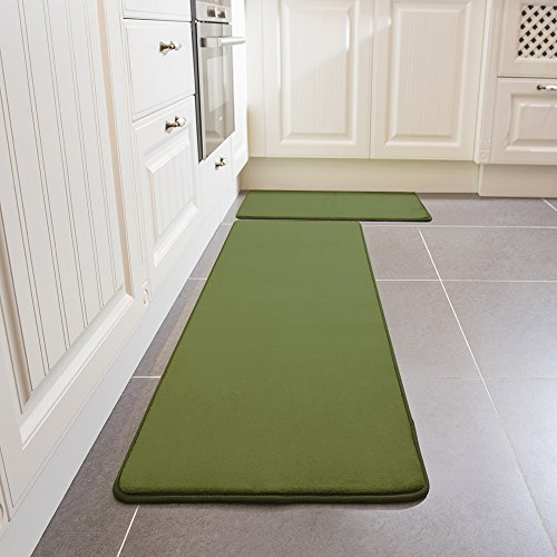 Kitchen Rug Set, LEEVAN Memory Foam Kitchen Comfort Mat Super Soft Rug Microfiber Flannel Area Runner Rugs Non-slip Backing Washable Bathroom Rug Set of 2 Pcs-15