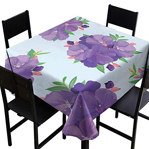 SKDSArts Table Cloth for Dinner PartiesSeamless Pattern with Beautiful Purple Princess Flower or tibouchina urvilleana and Leaf on Blue Background,W60 x L60 for Bistro Table