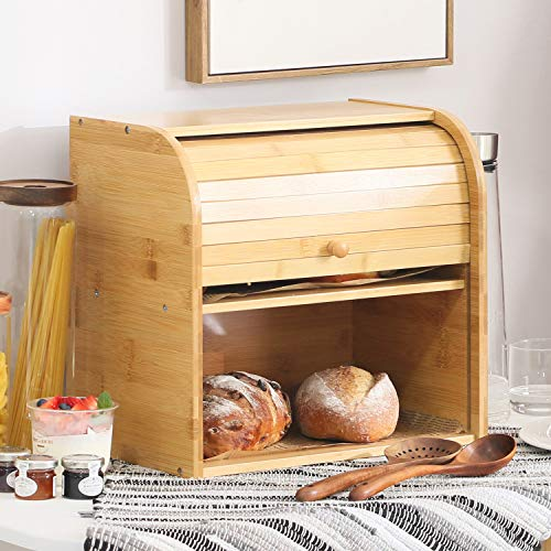 Betwoo Natural Wooden Roll Top Bread Box Kitchen Food Storage (2- Layer Self-assembly)