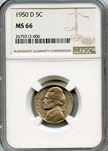 1950 D Jefferson Nickel Nickel MS-66 NGC
