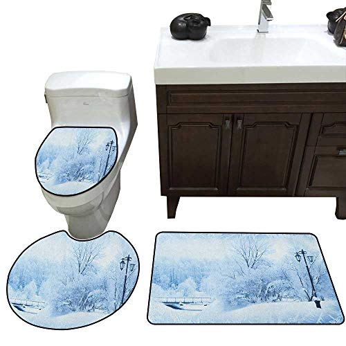 Winter Bath mat and Toilet mat Set Winter Trees in Wonderland Theme Christmas Year Scenery Freezing ICY Weather Bathroom Toilet mat Set Blue White -