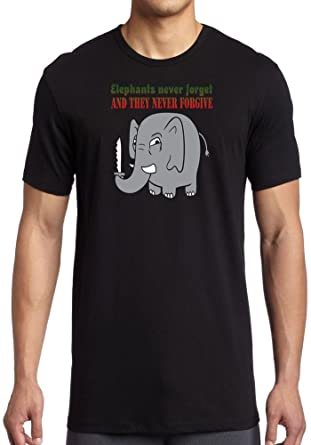51236d9e Elephants never forget & they never forgive - Mens T-Shirt - Black - Small