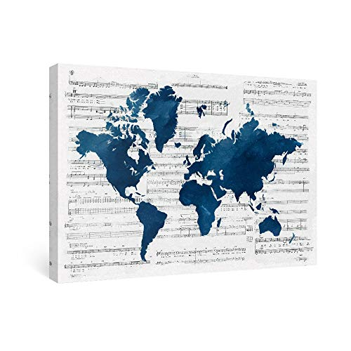 SUMGAR Navy Blue World Map of Canvas Wall Art for Bathroom Modern Music Prints Ready to Hang, 16