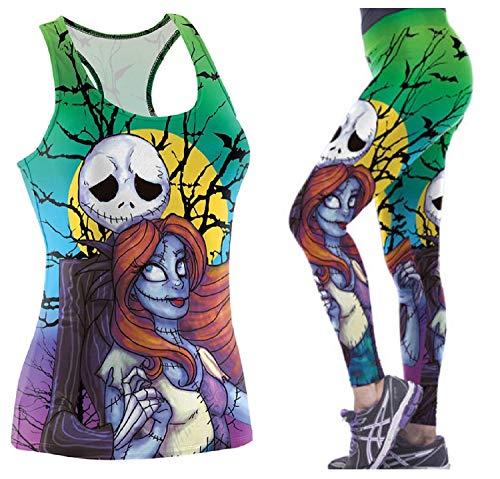 Nightmare Before Christmas Jack & Sally Green Womens Tank Top T-Shirt & Leggings Set (Medium) -
