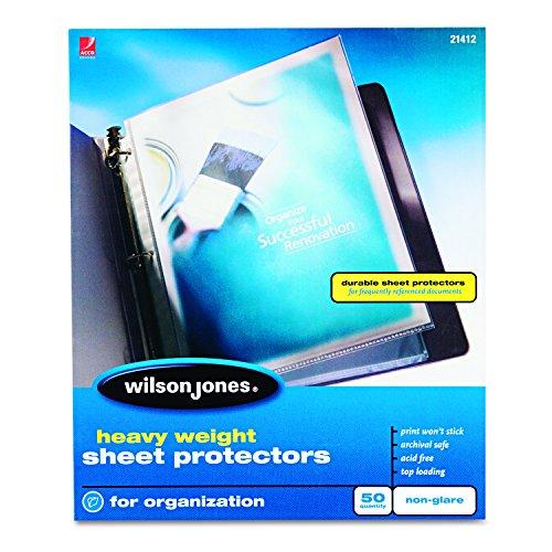 Wilson Jones Heavy Weight Top-Loading Sheet Protectors, Non-Glare, 50/Box (Non Glare 50 Box)