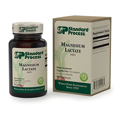 Standard Process - Magnesium Lactate - Magnesium Supplement, Supports Cellular Energy Production and Bone Formation, Gluten Free - 90 Capsules