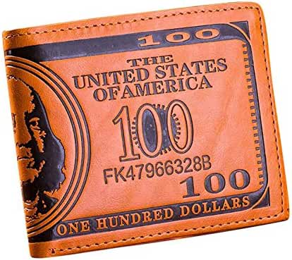 Peoria Unisex US $100 Dollar Bill Leather Wallet Bifold Card Holder Purses