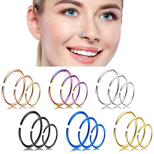 YILIN Nose Hoop Rings, 18-20G Nose Rings 316L Stainless Steel Body Jewelry Piercing Nose Ring Hoop Lip Ear Ring Tragus Hoop Earring (18Pcs) (A:18pcs (18G 6/8/10mm each 6pcs)) from YILIN