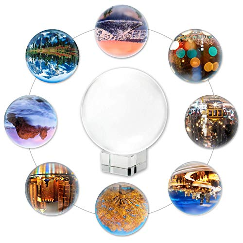 ECTY Clear Crystal Ball with Crystal Stand, Art Decor K9 Crystal Prop for Divination/Wedding or Photography Decoration (100MM/3.94'') (Renewed) ()