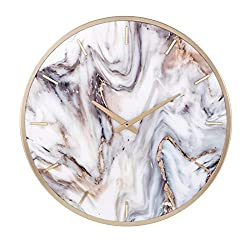 CC Home Furnishings 19.75 Gray and Brown Decorative Abstract Style Indoor Round Wall Clock