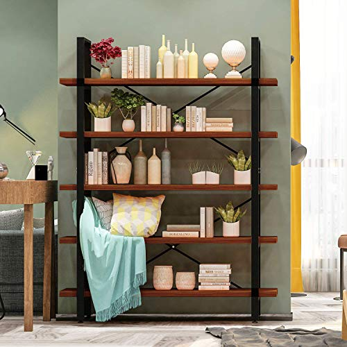 GreenForest 5 Shelf Bookshelf Industrial Bookcase with Rustic Wood and Metal Frame Open Wide Etagere for Home and Office Walnut